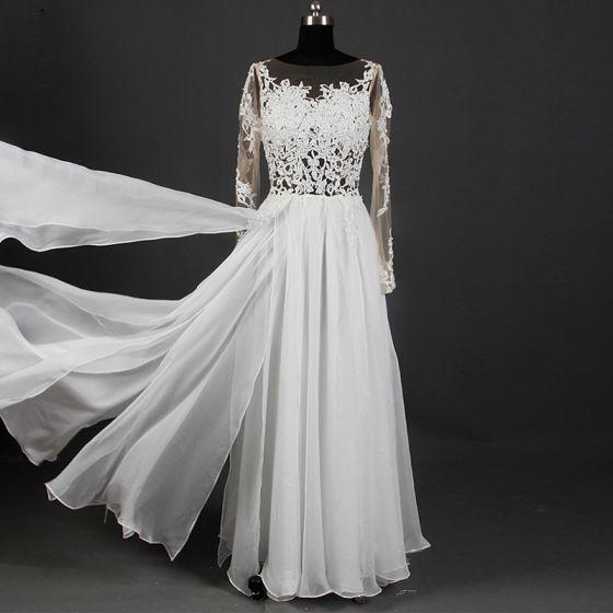 ab6e7de6a5d5 Klassisk Elegant Ivory Lange Bryllup 2018 Prinsesse U-udskæring Tulle Snøre  Applikationsbroderi Halterneck Pierced Gennemsigtig Brudekjoler