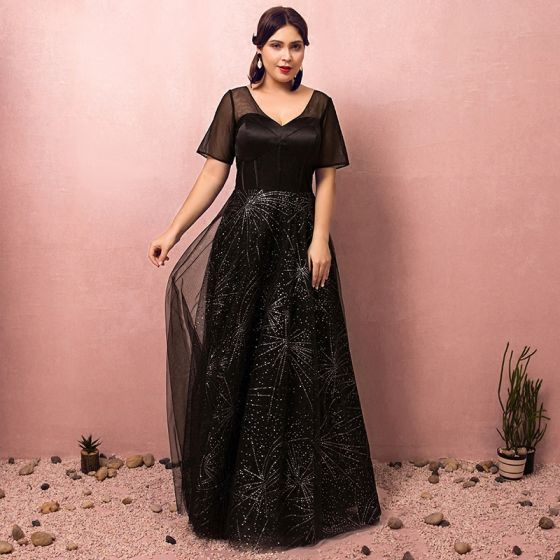 Sparkly Black Plus Size Evening Dresses 2018 A-Line / Princess Tulle V-Neck  Backless Beading Corset Sequins Evening Party Prom Dresses