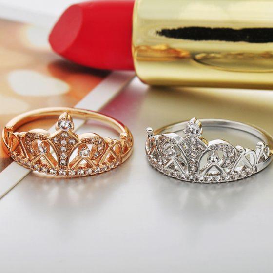 Eenvoudige Goud Rhinestone Kroon Geloof Ring Legering Schoonheidswedstrijd Avond Ringen 2019 Accessoires