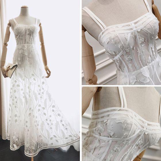 Piękne Lato Białe Sukienki Wieczorowe 2018 Princessa Spaghetti Pasy Bez Rękawów Aplikacje Z Koronki Długość Kostki Wzburzyć Bez Pleców Sukienki Wizytowe
