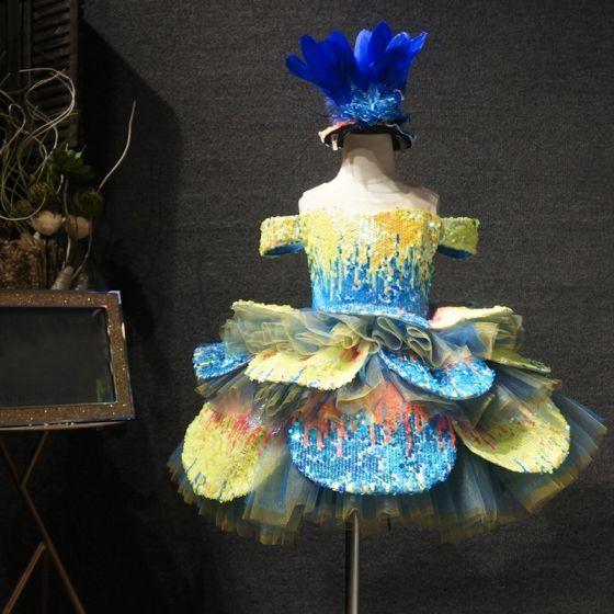 Wróżka Kwiatowa Żółta Niebieskie Urodziny Sukienki Dla Dziewczynek 2020 Suknia Balowa Przezroczyste Wycięciem Kótkie Rękawy Cekiny Krótkie Kaskadowe Falbany Sukienki Na Wesele