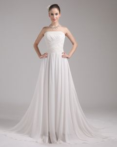 Fashion Chiffon Charmeuse Beading Strapless Floor Length Empire Wedding Dress