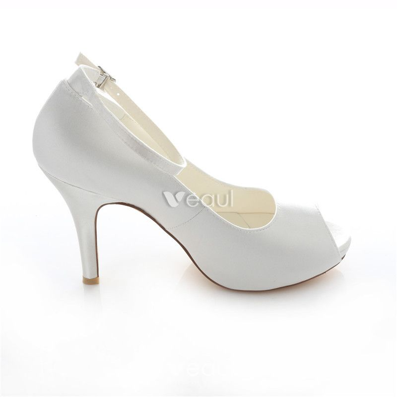 Elegant Satin Wedding Shoes White Stiletto Heels Pumps 4 Inch High Heel Peep Toe