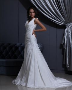 V Neck Sleeveless Lace Up Floor Length Ruffle Taffeta Woman A Line Wedding Dress