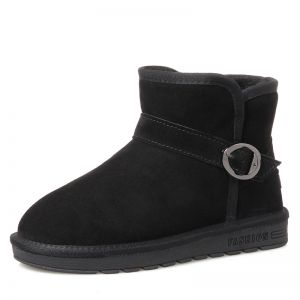 Modern / Fashion Womens Boots 2017 Black Leather Ankle Suede Buckle Casual Winter Flat Snow Boots