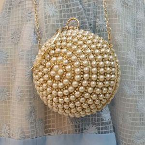 Schöne Gold Clutch Tasche Ivory / Creme Perlenstickerei Perle Strass Brautaccessoires 2019
