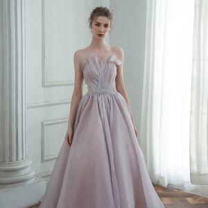 Elegante Lavendel Tanzen Ballkleider 2020 A Linie Herz-Ausschnitt Ärmellos Perlenstickerei Glanz Tülle Lange Rüschen Rückenfreies Festliche Kleider