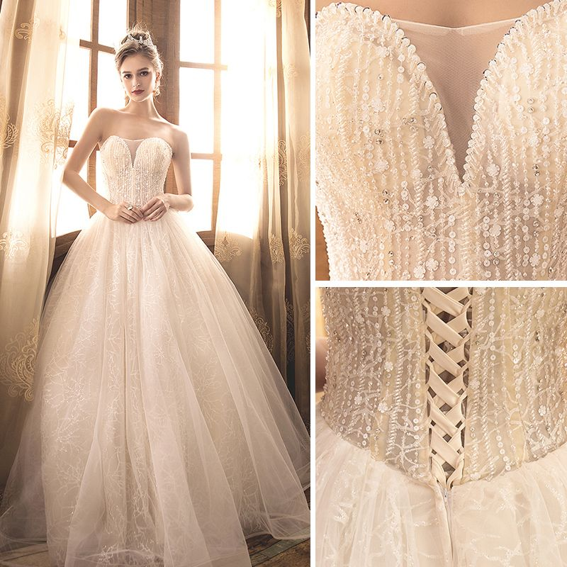 Elegant Champagne Wedding Dresses 2018 Ball Gown Beading Pearl Rhinestone Sequins Strapless Backless Sleeveless Floor-Length / Long Wedding