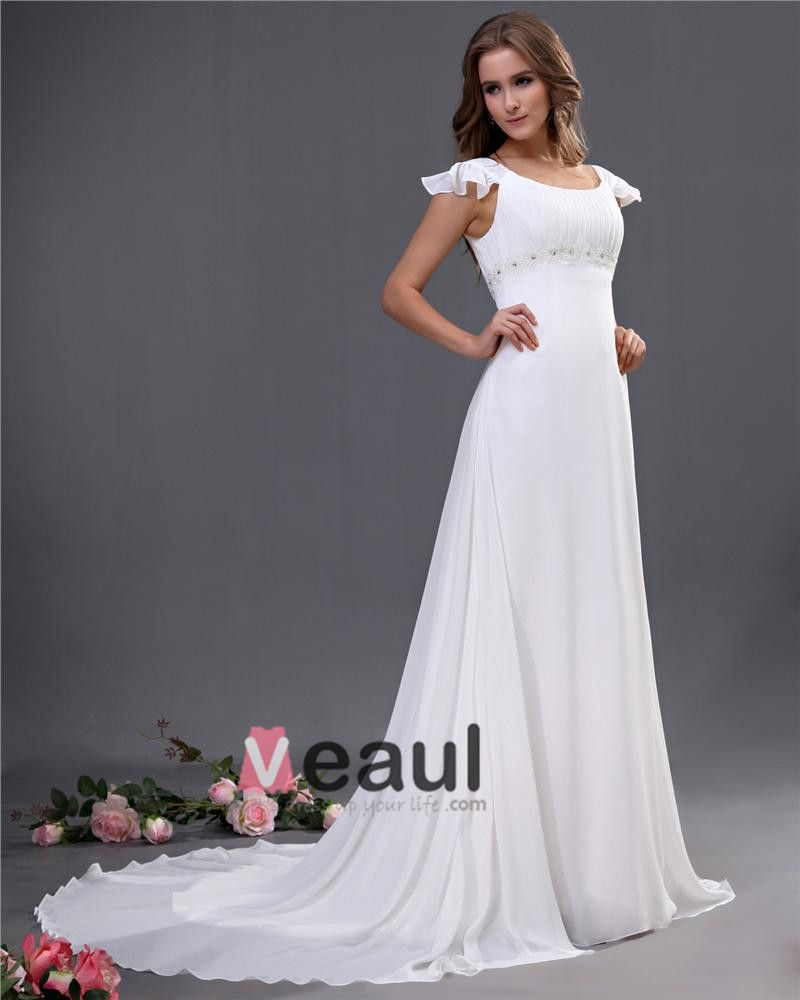 Chiffon Scoop Beading Court Empire Bridal Gown Wedding Dresses