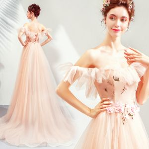 Elegant Pearl Pink Evening Dresses  2019 A-Line / Princess Off-The-Shoulder Short Sleeve Appliques Lace Flower Court Train Ruffle Backless Formal Dresses