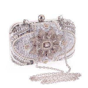 Modern / Fashion Silver Beading Pearl Rhinestone Sequins Metal Clutch Bags 2018