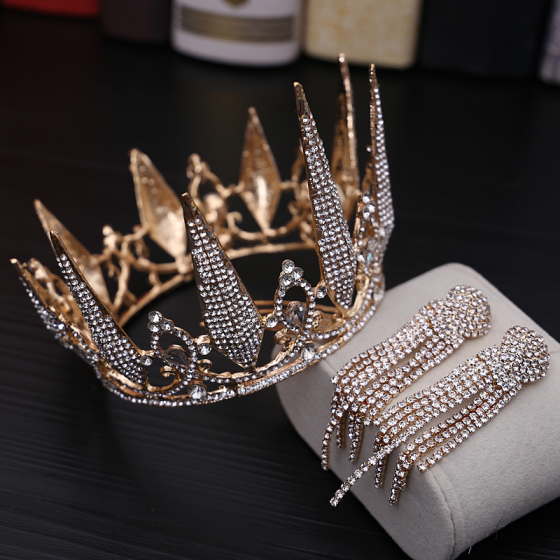 Chic / Beautiful Gold Bridal Jewelry 2019 Metal Rhinestone Tiara Tassel Earrings Wedding Accessories