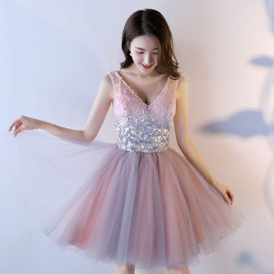 Sparkly Blushing Pink Sequins Cocktail Dresses 2017 A-Line / Princess V-Neck Sleeveless Short Ruffle Backless Formal Dresses