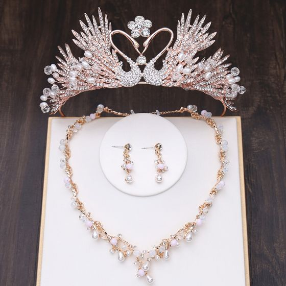 Amazing / Unique Gold Bridal Jewelry 2019 Metal Tiara Necklace Tassel Earrings Crystal Pearl Rhinestone Wedding Accessories