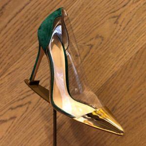 Chic / Beautiful Transparent Two Tone Dark Green Street Wear Pumps 2020 7 cm Stiletto Heels Pointed Toe Pumps