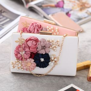 Chic / Beautiful Beading Pearl Artificial Flowers Metal Clutch Bags 2018