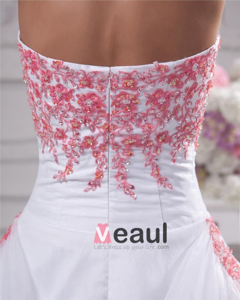 Applique Beading Strapless Floor Length Brush Train Satin Organza Lace Ball Gown Wedding Dress