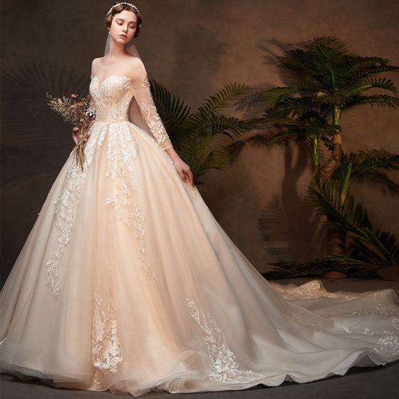 Classy Champagne See-through Wedding Dresses 2019 Ball Gown Scoop Neck 3/4 Sleeve Backless Appliques Lace Cathedral Train Ruffle