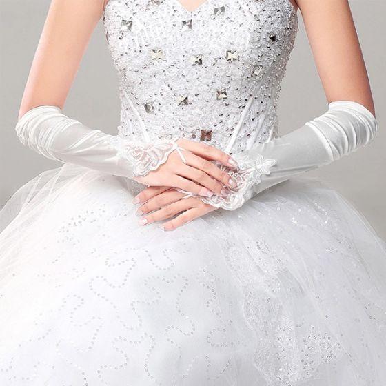 Rękawiczki Długie Proste Eleganckie Panny Młodej