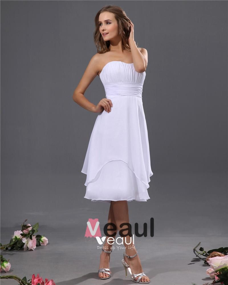 Designer A-line Strapless Chiffon Tea-length Bridesmaid Dress
