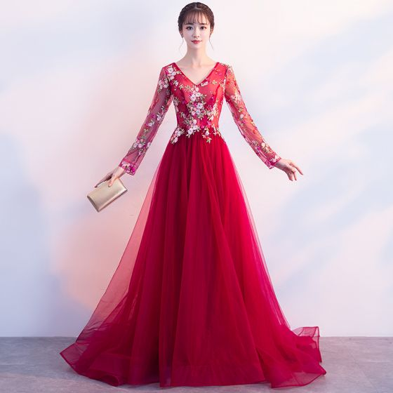 Discount Red Evening Dresses  2018 A-Line / Princess V-Neck Long Sleeve Embroidered Rhinestone Sweep Train Ruffle Backless Formal Dresses