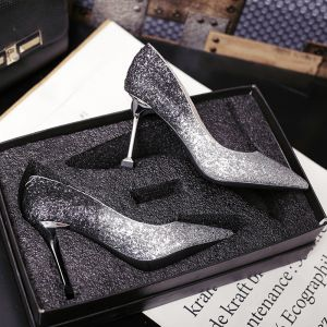 Sparkly Black Evening Party Pumps 2019 Sequins 8 cm Stiletto Heels Pointed Toe Pumps