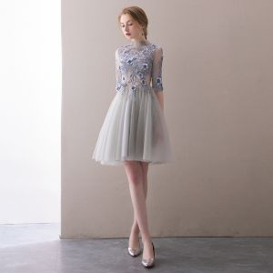 Sexy Grey Pierced Homecoming Graduation Dresses 2018 A-Line / Princess High Neck 1/2 Sleeves Lace Appliques Flower Pearl Rhinestone Short Ruffle Backless Formal Dresses