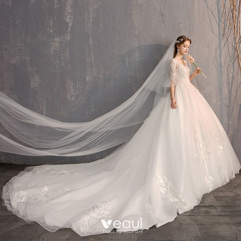Luxury / Gorgeous White Ball Gown Wedding Dresses 2019 Tulle Lace V-Neck Appliques Backless Beading Pearl Sequins Cathedral Train Church Wedding
