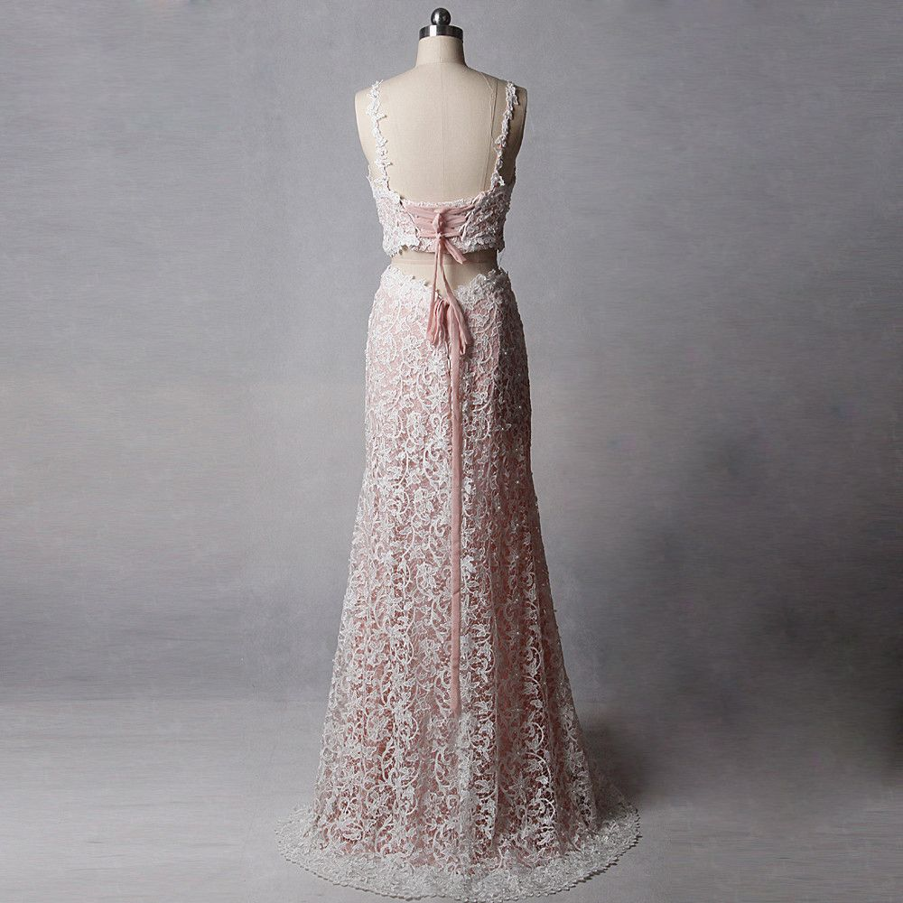 2 Piece Amazing / Unique Blushing Pink Court Train Wedding 2018 V-Neck Lace Lace-up Backless Beading Pearl Sheath / Fit Wedding Dresses