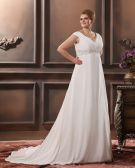 Chiffon Beads Ruffles V Neck Court Plus Size Bridal Gown Wedding Dress
