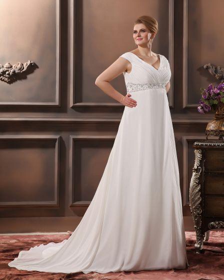Chiffon Beads Ruffles V Neck Court Plus Size Bridal Gown Wedding Dress