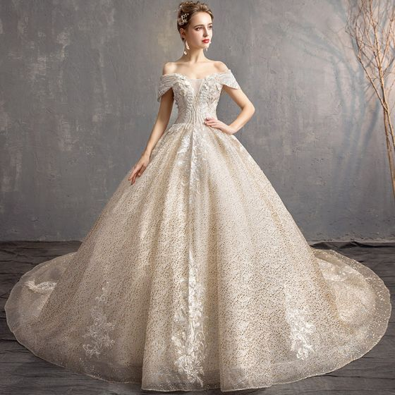 Charming Champagne Wedding Dresses 2019 Ball Gown Off-The-Shoulder Short Sleeve Backless Flower Glitter Lace Pearl Chapel Train