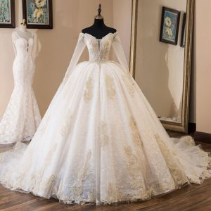 Elegant Champagne Wedding Dresses 2019 Ball Gown Off-The-Shoulder Beading Crystal Rhinestone Pearl Lace Flower Long Sleeve Backless Cathedral Train