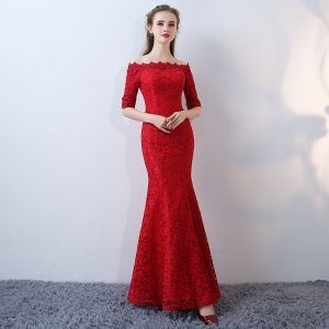 Chic / Beautiful Red Evening Dresses  2017 Trumpet / Mermaid Strapless Lace Appliques Backless Embroidered Pierced Formal Dresses