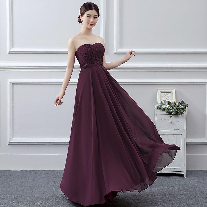 Classic Bridesmaid Dresses 2017 Grape A-Line / Princess Floor-Length / Long Sweetheart Sleeveless Backless Wedding Party Dresses