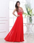 Chiffon Beaded Ruffles Halter Floor Length Evening Dresses