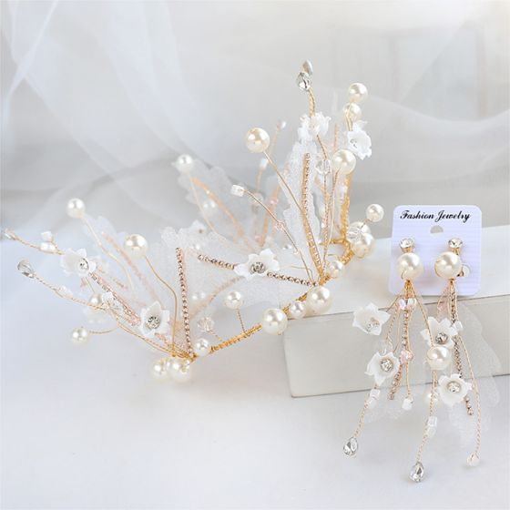 Chic / Beautiful Gold Tiara Earrings Bridal Jewelry 2020 Alloy Pearl Rhinestone Silk Flower Wedding Accessories