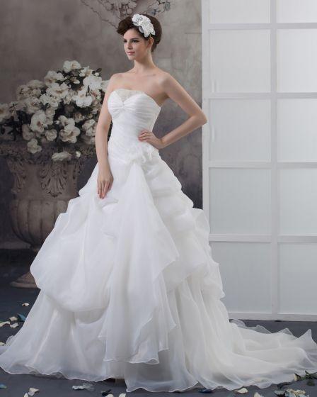 Satin Sicke Rüschen Schatz Kapelle A-linie Hochzeitskleid Brautkleider
