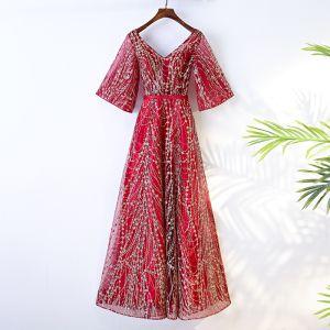 Chic / Belle Rouge Robe De Soirée 2017 Paillettes Lanières Tulle Soirée