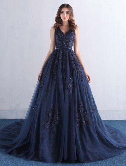 Elegantes Vestidos De Gala 2016 V-cuello De Encaje Apliques Con Vestido Largo De Tul Azul Marino Lentejuelas