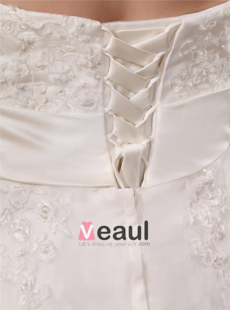 Satin Applique Sweetheart Plus Size Wedding Dresses
