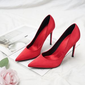 Modest / Simple Red Office OL Satin Pumps 2020 10 cm Stiletto Heels Pointed Toe Pumps