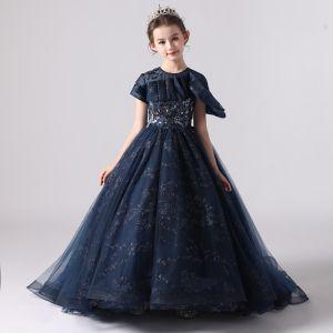 Piękne Granatowe Urodziny Sukienki Dla Dziewczynek 2020 Suknia Balowa Wycięciem Kótkie Rękawy Aplikacje Z Koronki Cekiny Frezowanie Trenem Sweep Wzburzyć