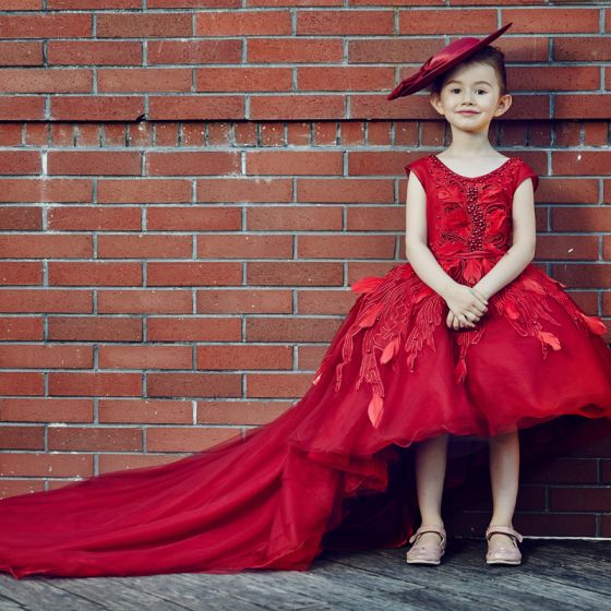 Chic / Beautiful Church Wedding Party Dresses 2017 Flower Girl Dresses Red Ball Gown Asymmetrical Scoop Neck Sleeveless Backless Flower Appliques Pearl Feather