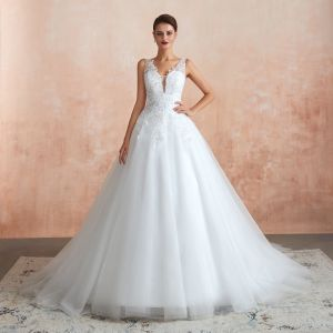 Chic / Beautiful Ivory See-through Wedding Dresses 2020 A-Line / Princess Deep V-Neck Sleeveless Appliques Lace Sequins Court Train Ruffle