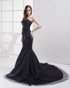 Fashion Taffeta Gauze Pleated Sweetheart Floor Length Celebrity Prom Dress