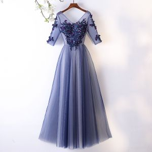 Chic / Beautiful Ocean Blue Evening Dresses  2017 A-Line / Princess Lace Flower Appliques Crystal V-Neck Backless 1/2 Sleeves Ankle Length Formal Dresses