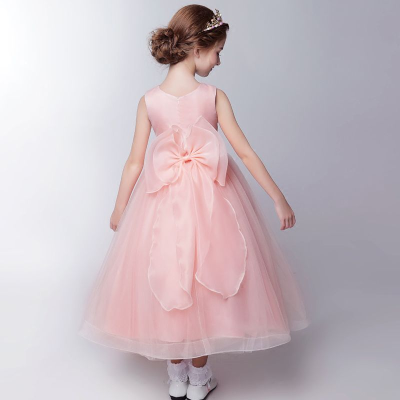 Chic / Beautiful Hall Wedding Party Dresses 2017 Flower Girl Dresses Candy Pink Tea-length Ball Gown Cascading Ruffles Scoop Neck Sleeveless Bow Flower Appliques Sequins Rhinestone