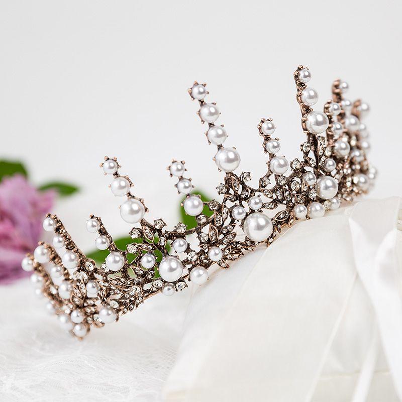 Vintage / Retro Bronze Bridal Hair Accessories 2020 Metal Rhinestone Pearl Tiara Wedding Accessories