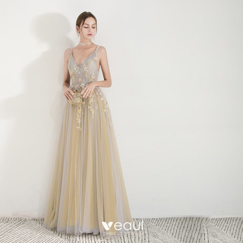 76842bf36b739 Charming Yellow Evening Dresses 2019 A-Line / Princess Spaghetti ...